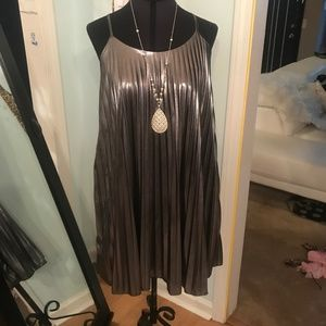 Metallic Silver Pleated Tank Dress Cato Size XS